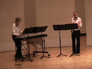 """Ginny Armstrong (vibraphone) and Gina Cole (soprano saxophone) perform """"TOE (Theory of Everything)"""" by Stephan Wiseman"""