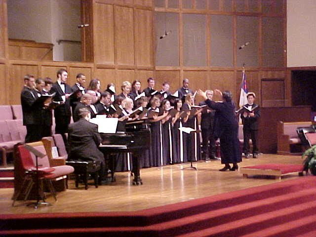 University Chorale led by director Sandra Thompson sand American Light (Composer Jason Haney) and Exaudi (Composer Frank LaRocca)