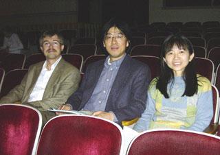 Samuel Pellman, Ping Jin, Chin-Chin Chen in Wadsworth Auditorium