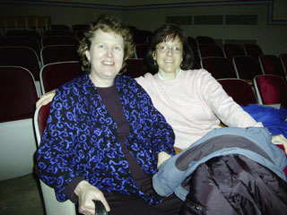 Linda Kirkwood, Amy Stanley in Wadsworth Auditorium
